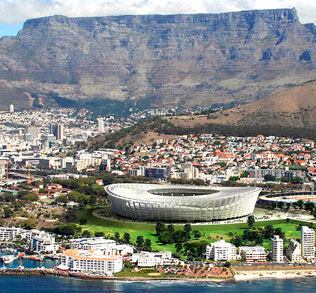Greenpoint Stadium - A symbol of pride and joy for Cape Town's soccer lovers, this stadium has been built especially for 2010. Under the shadow of Table Mountain, this stadium has an all-weather, retractable dome and has a capacity of 70,000.