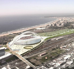 Moses Mabhida Stadium - This stadium in Durban, KwaZulu-Natal has the capacity to hold 70,000 fans. The stadium will host six first round matches, one second round match and one semi-final match.