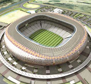 Soccer City - This stadium, near Soweto in Gauteng, has undergone a major upgrade in honor of 2010. Designed around the theme of a giant African calabash, the revamped stadium has the capacity for 95,000 fans. The stadium will host the opening and the final matches.