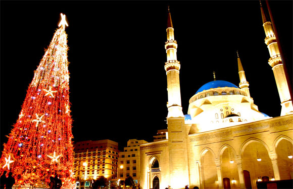 Christmas Tree Next to Mohamed Al-Amin Mosque in Beirut, Lebanon