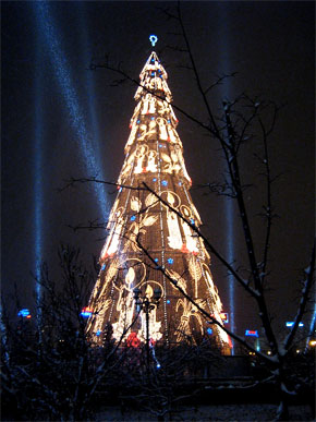 Unirii Square Christmas Tree in Bucharest, Romania