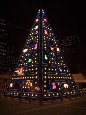 Pac Man Christmas Tree in Madrid, Spain